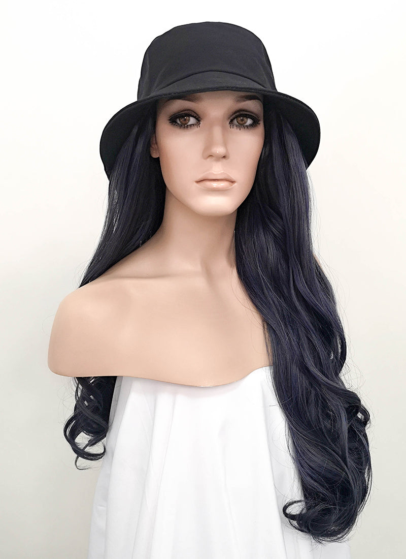 Black Bucket Hat With Wavy Ash Blue Hair Attached CW004