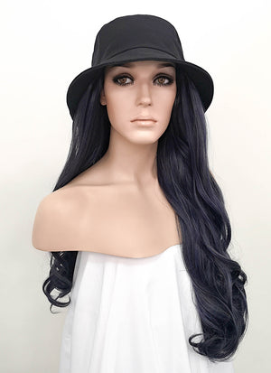 Black Bucket Hat With Wavy Ash Blue Hair Attached CW004 - Wig Is Fashion Australia