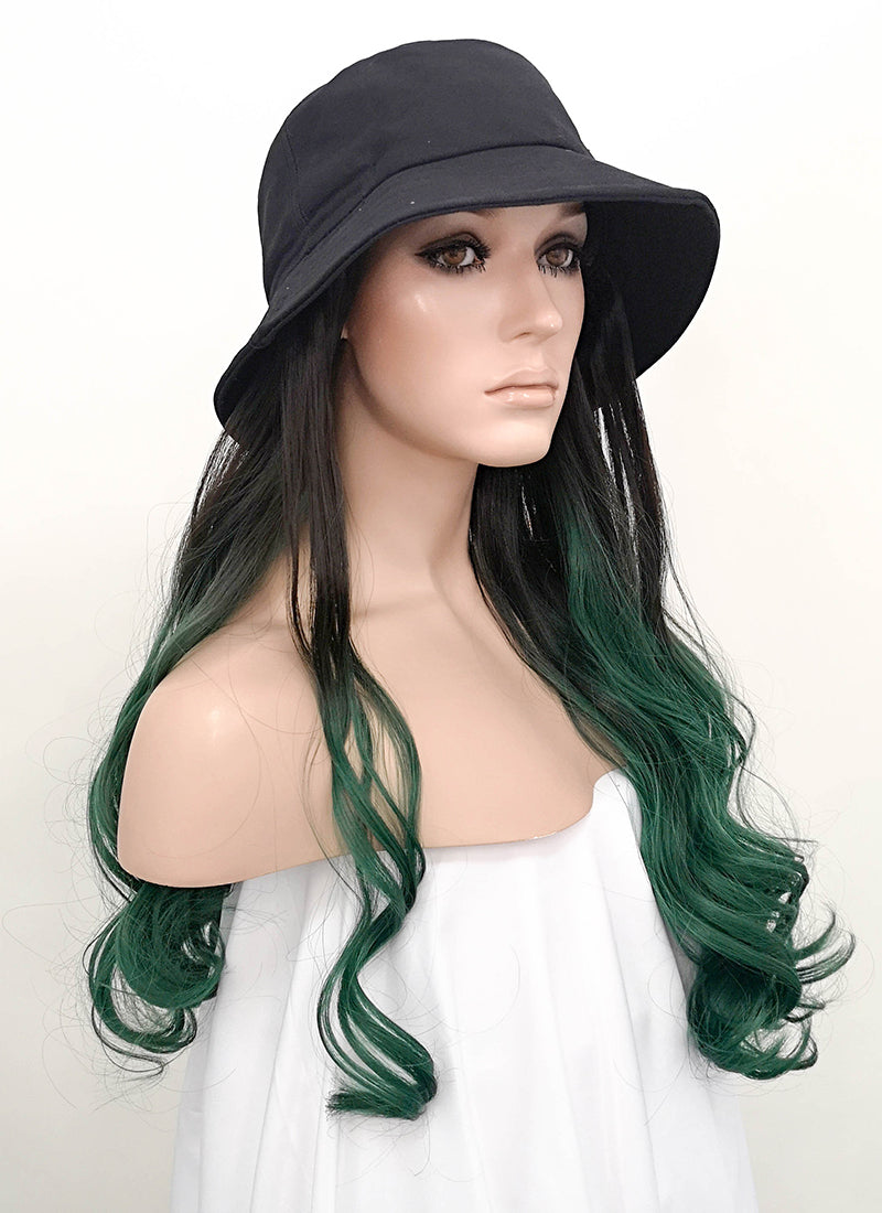 Black Bucket Hat With Wavy Black Green Ombre Hair Attached CW005 - Wig Is Fashion Australia