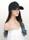 Black Baseball Cap With Wavy Dark Brown Blue Ombre Hair Attached CW008 - Wig Is Fashion Australia