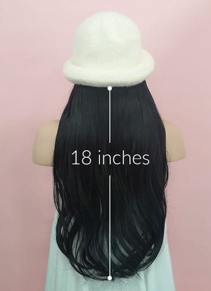 White Bucket Hat With Wavy Black Hair Attached CW009 - Wig Is Fashion Australia