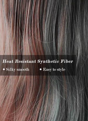 Ash Blue Pale Plum Split Color With Dark Roots Wavy Synthetic Wig NS058