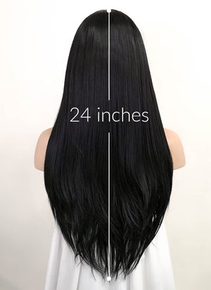 Straight Jet Black Lace Front Synthetic Wig LF002 - Wig Is Fashion Australia