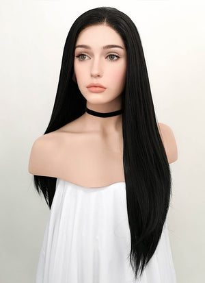 Straight Natural Black Lace Front Synthetic Wig LF003 - Wig Is Fashion Australia