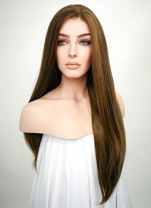 Brunette Straight Lace Front Synthetic Wig LF006 - Wig Is Fashion Australia
