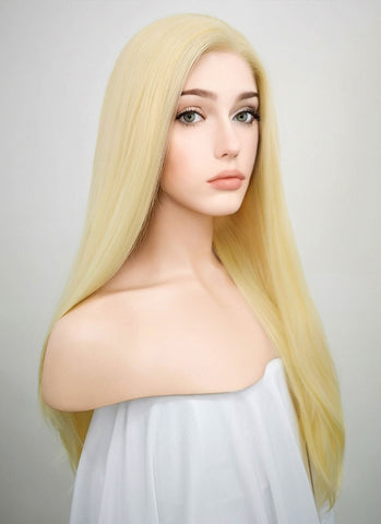 Straight Grey Blonde Lace Front Synthetic Wig LF238