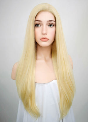 Straight Blonde Lace Front Synthetic Wig LF012