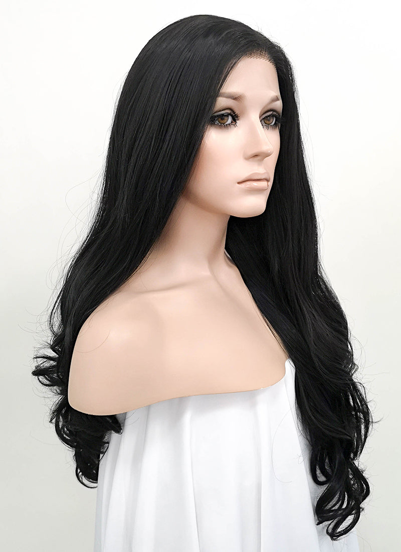 Wavy Natural Black Lace Front Synthetic Wig LF071 - Wig Is Fashion Australia