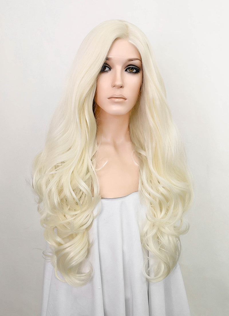 Light Blonde Wavy Lace Front Synthetic Wig LF073