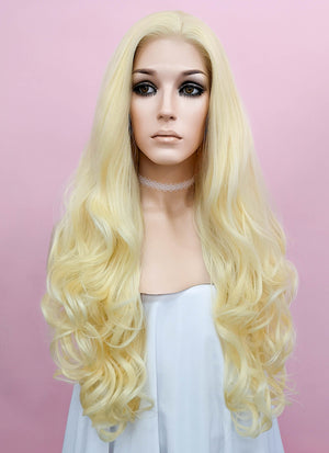 Wavy Golden Blonde Lace Front Synthetic Wig LF080 - Wig Is Fashion Australia