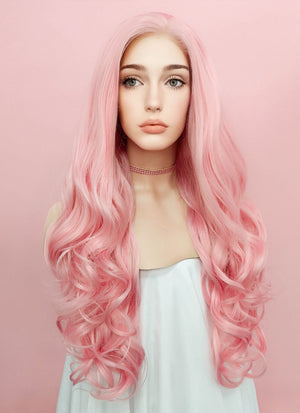 Pastel Pink Wavy Lace Front Synthetic Wig LF084 - Wig Is Fashion Australia