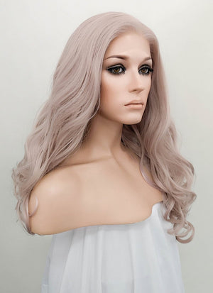 Pastel Pale Plum Wavy Lace Front Synthetic Wig LF085J