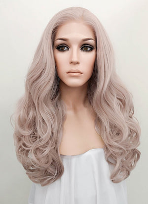 Pastel Pale Plum Wavy Lace Front Synthetic Wig LF085J - Wig Is Fashion Australia
