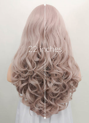 Pinkish Grey Wavy Lace Front Synthetic Wig LF085J - Wig Is Fashion Australia
