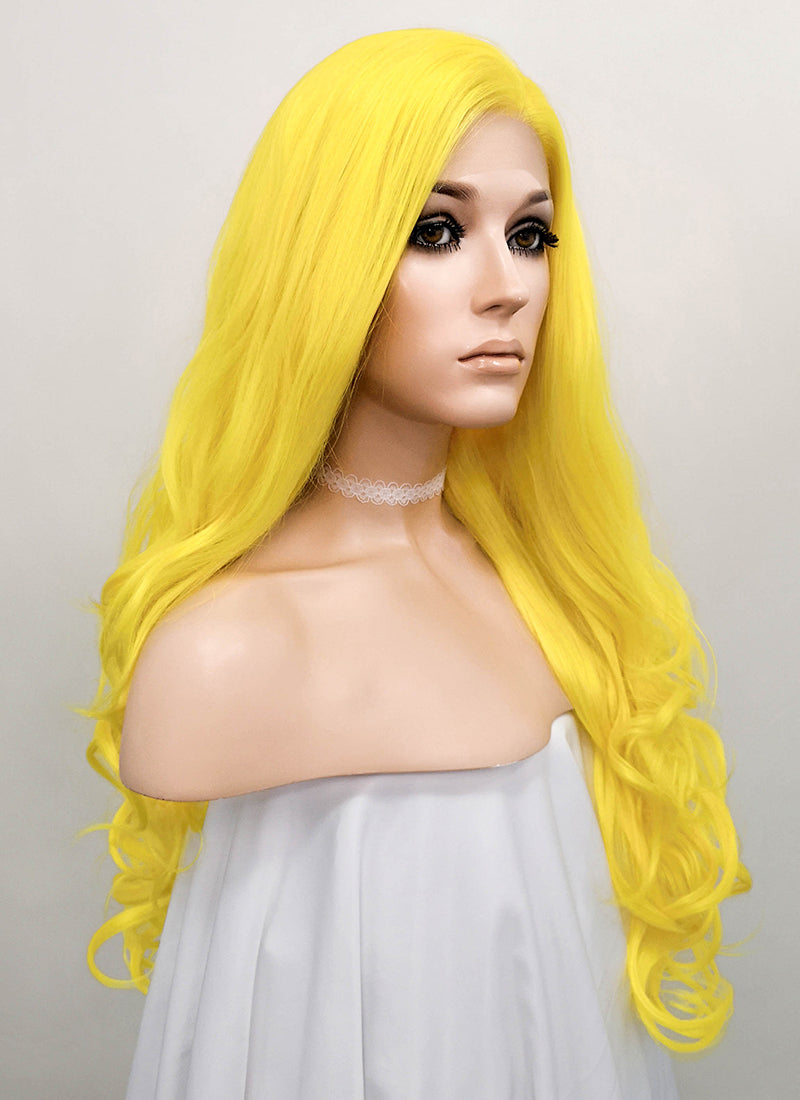 Wavy Golden Yellow Lace Front Synthetic Wig LF089 - Wig Is Fashion Australia
