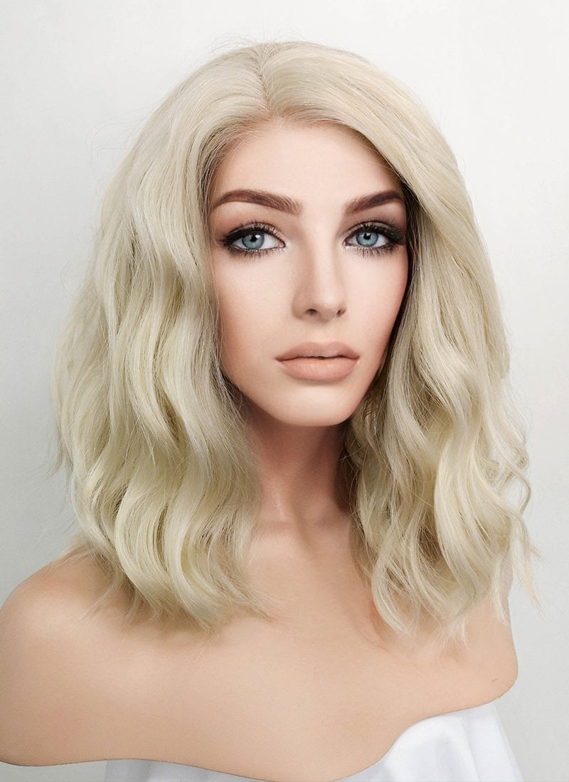 Light Ash Blonde Wavy Bob Lace Front Synthetic Wig LF101A