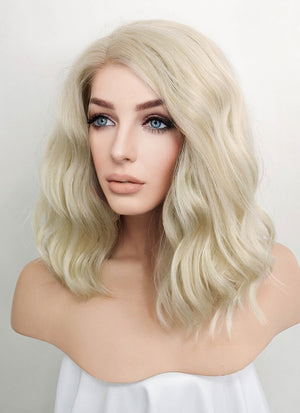 Light Ash Blonde Wavy Bob Lace Front Synthetic Wig LF101A - Wig Is Fashion Australia