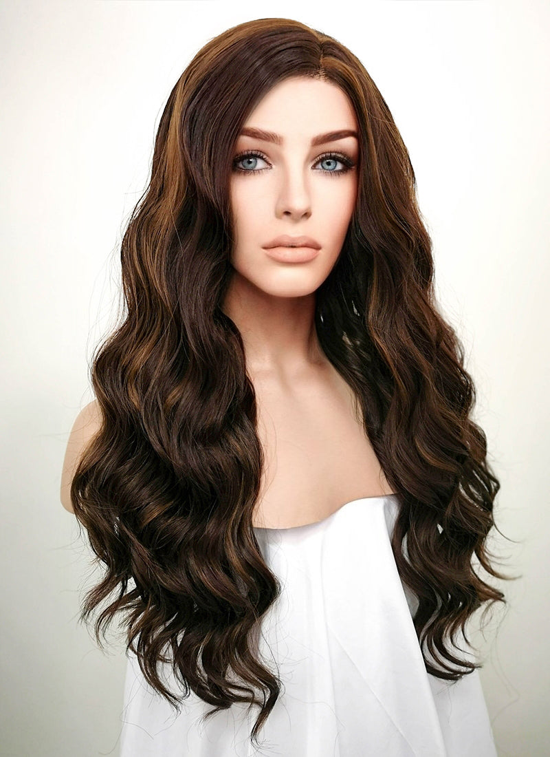 Brunette Wavy Lace Front Synthetic Wig LF105 - Wig Is Fashion Australia