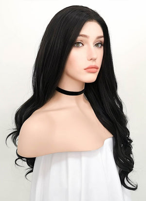 Wavy Natural Black Lace Front Synthetic Wig LF112 - Wig Is Fashion Australia