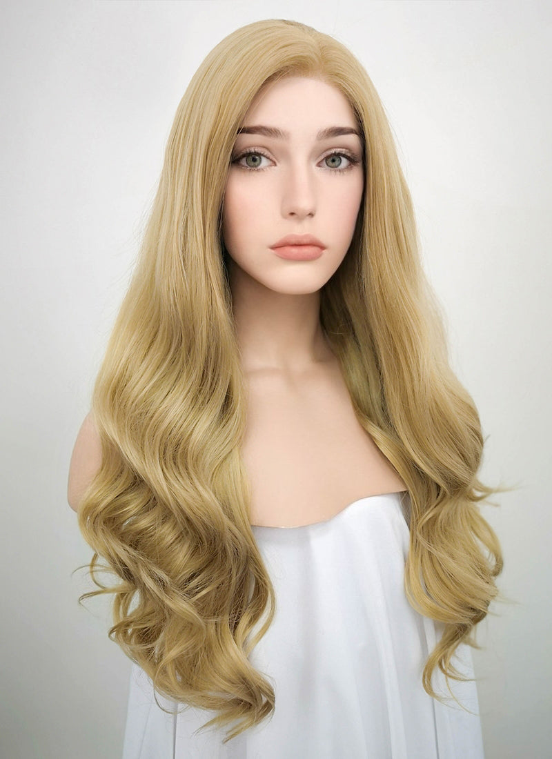 Wavy Golden Blonde Lace Front Synthetic Wig LF119 - Wig Is Fashion Australia