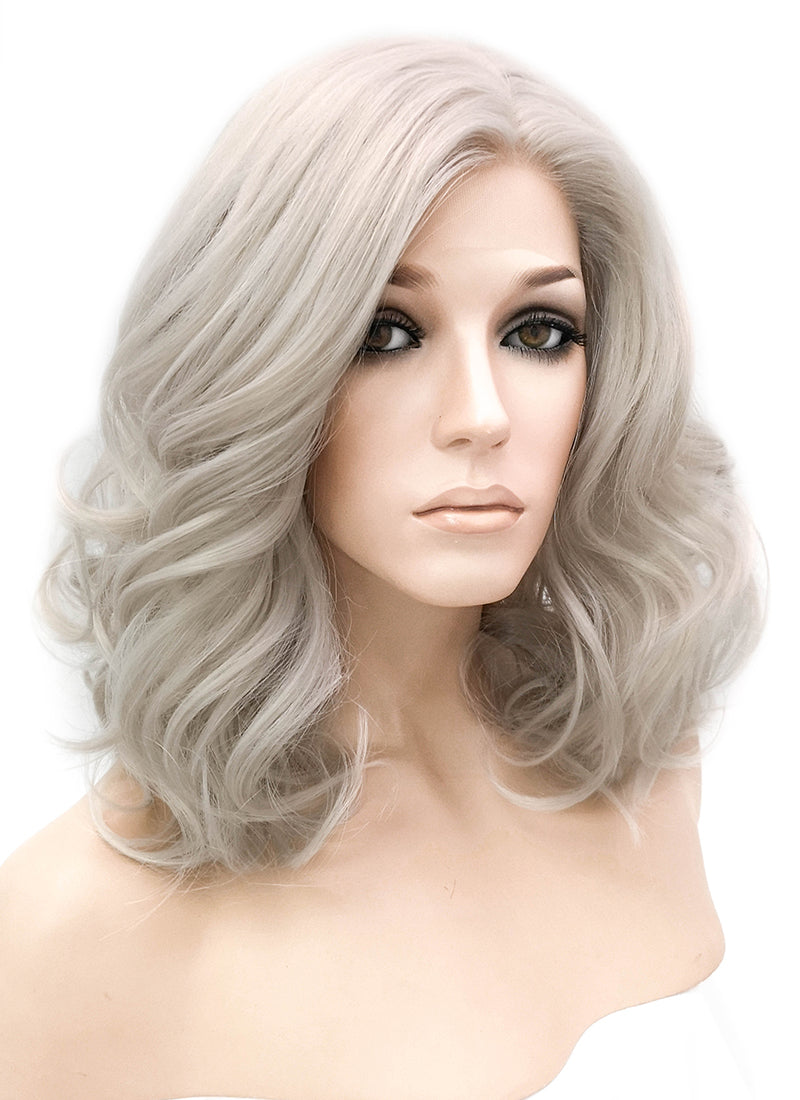 Grey Wavy Lace Front Synthetic Wig LF1254