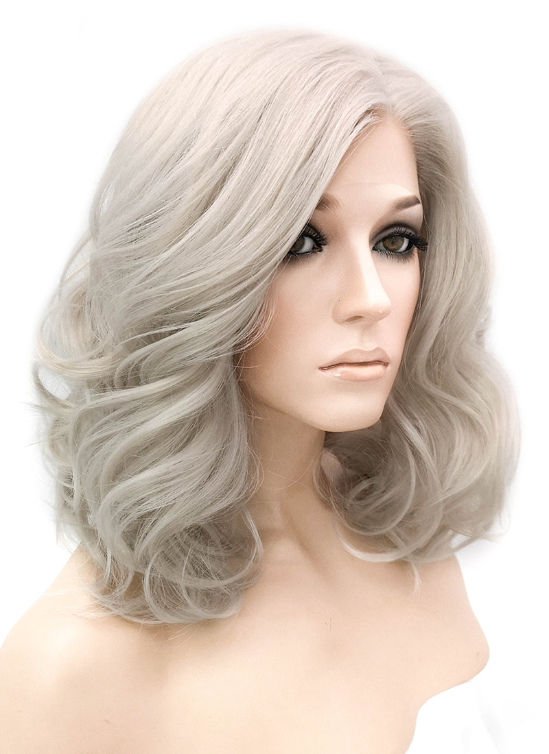 Pastel Grey Wavy Lace Front Synthetic Wig LF1254 - Wig Is Fashion Australia