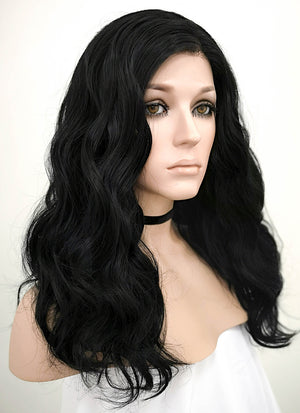 Black Wavy Lace Front Synthetic Wig LF1262 - Wig Is Fashion Australia