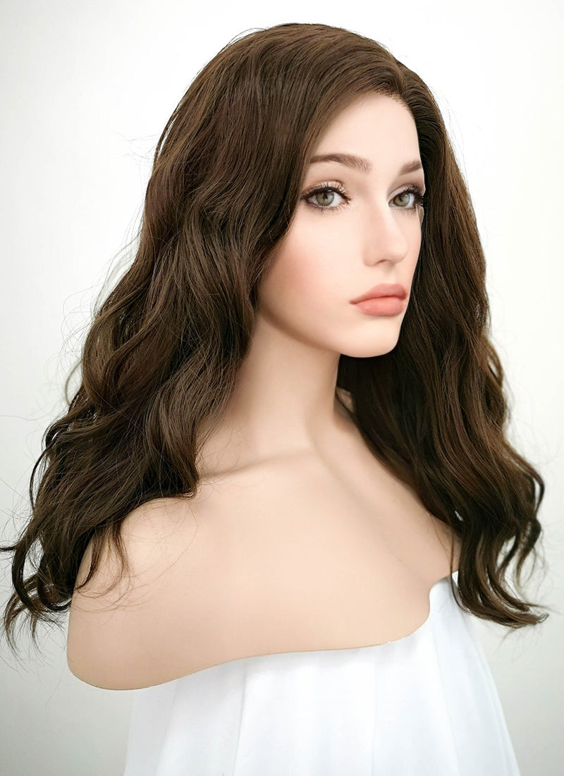 Dark Brown Wavy Lace Front Synthetic Wig LF1265 - Wig Is Fashion Australia