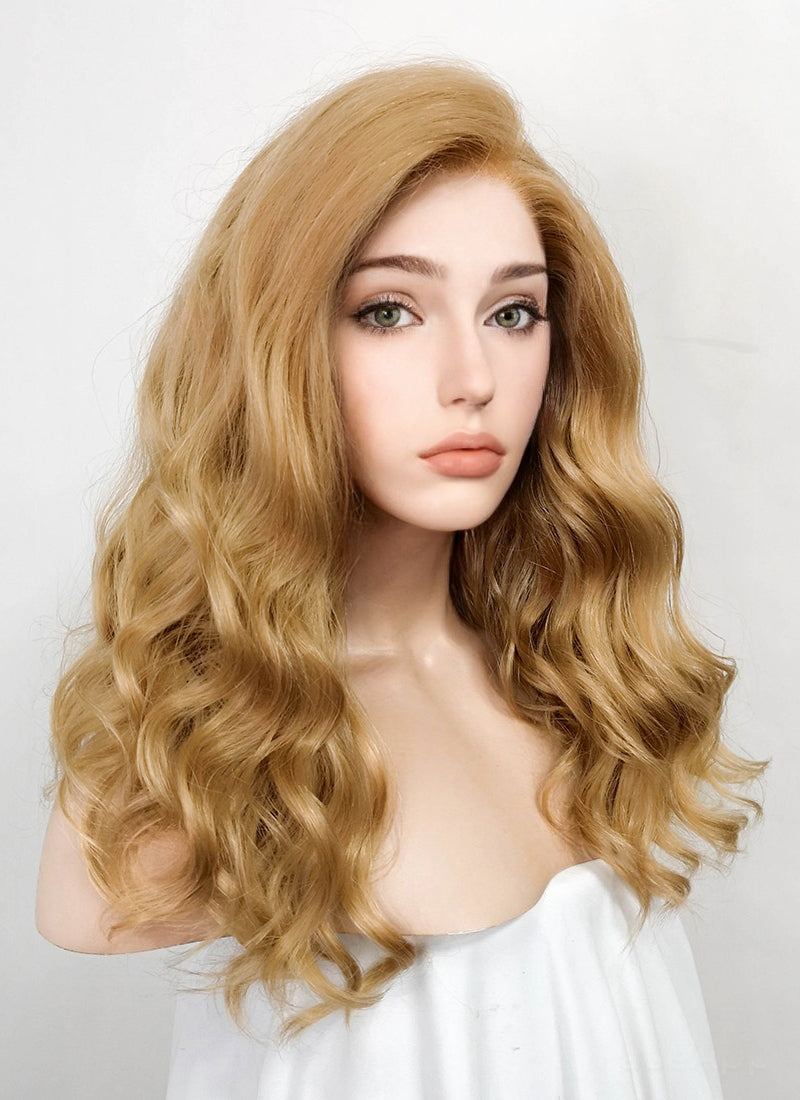 Golden Blonde Wavy Lace Front Synthetic Wig LF1266 - Wig Is Fashion Australia