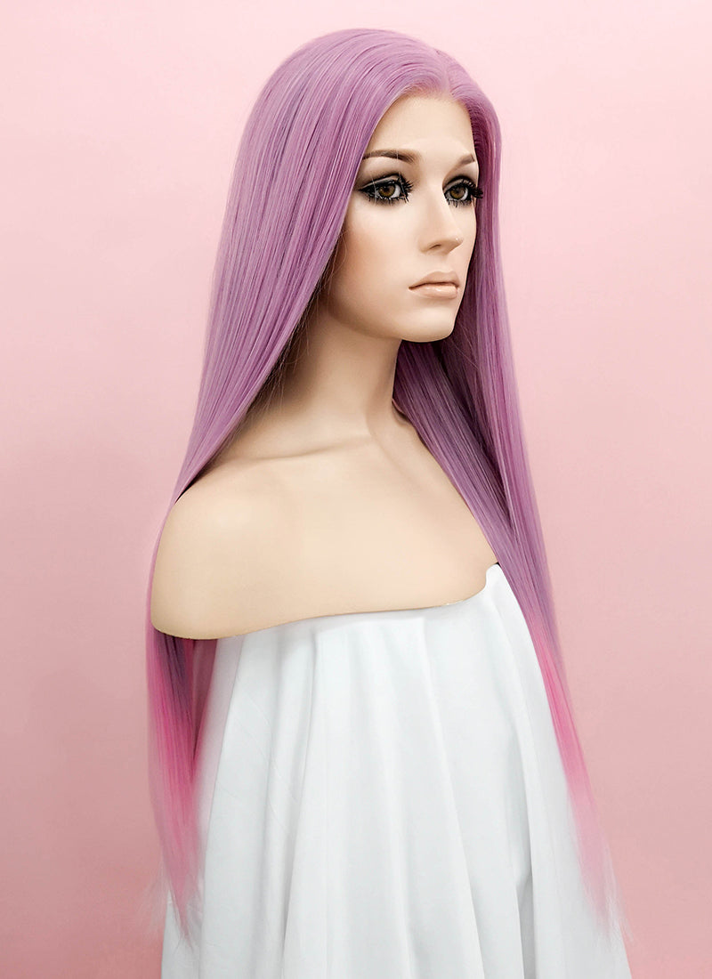Pink Purple Ombre Straight Lace Front Synthetic Wig LF1287