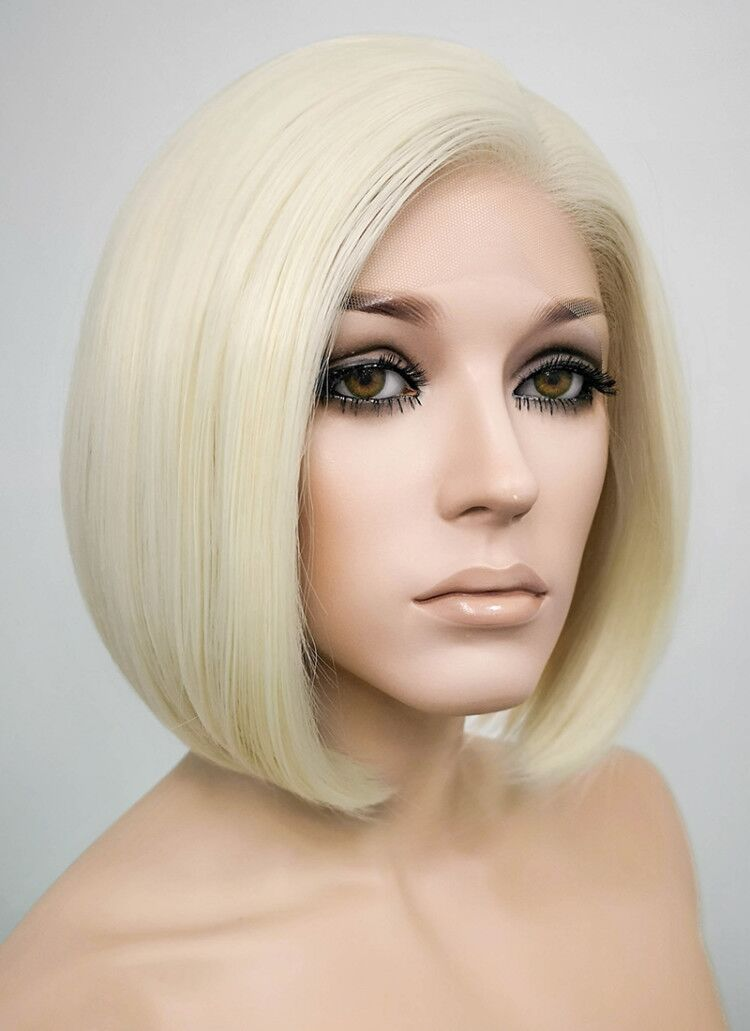 Light Blonde Straight Bob Lace Front Synthetic Wig LF1289 - Wig Is Fashion Australia
