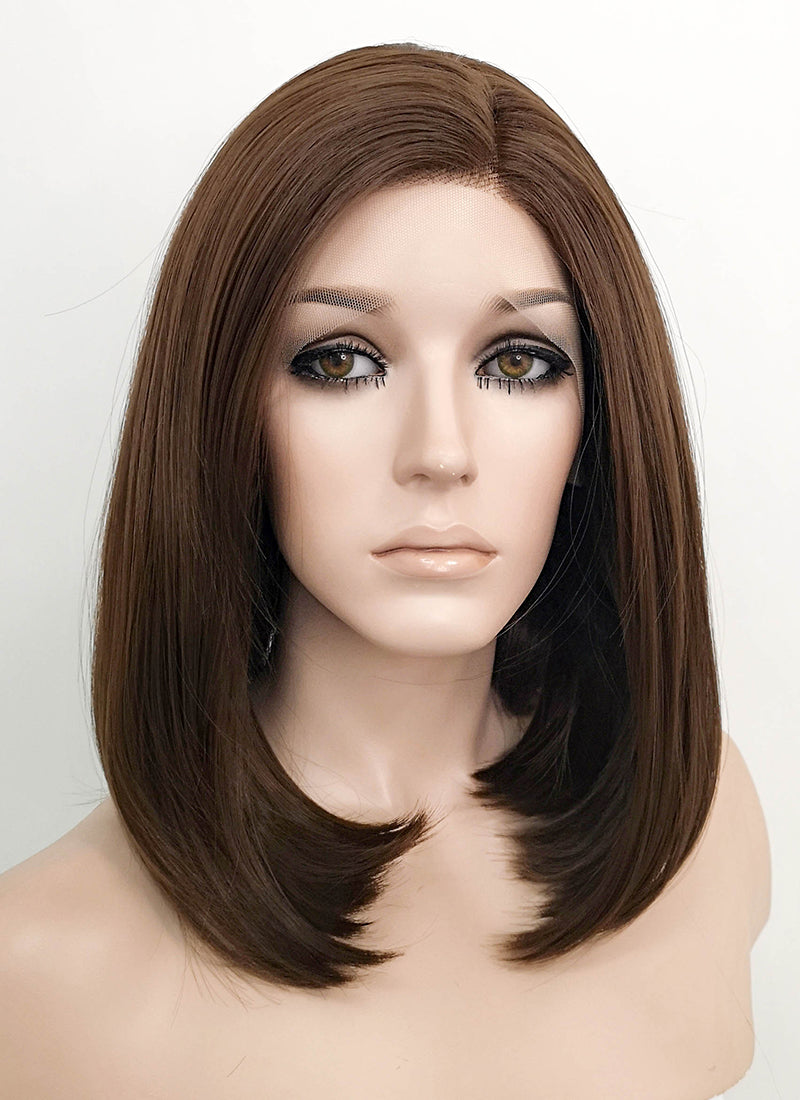 Brunette Straight Bob Lace Front Synthetic Wig LF1295 - Wig Is Fashion Australia