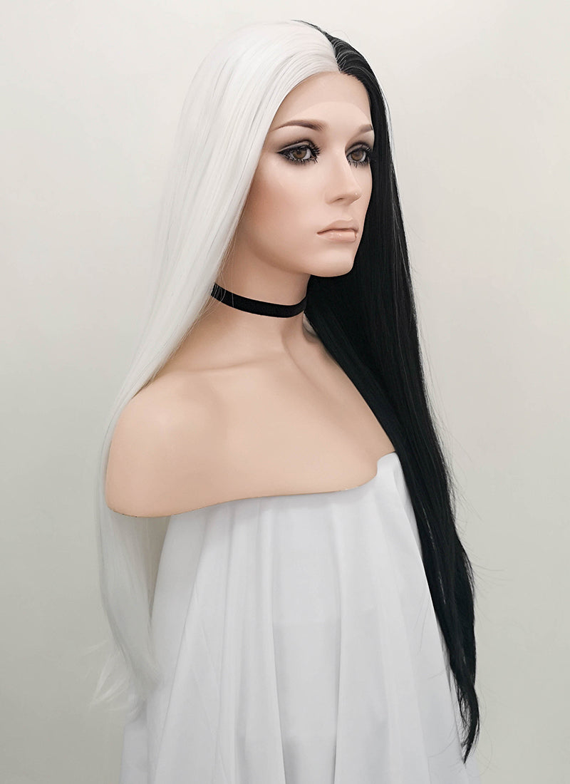 White Black Split Color Straight Lace Front Synthetic Wig LF1531B - Wig Is Fashion Australia