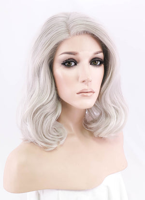 Pastel Light Grey Wavy Bob Lace Front Synthetic Wig LF1537 - Wig Is Fashion Australia