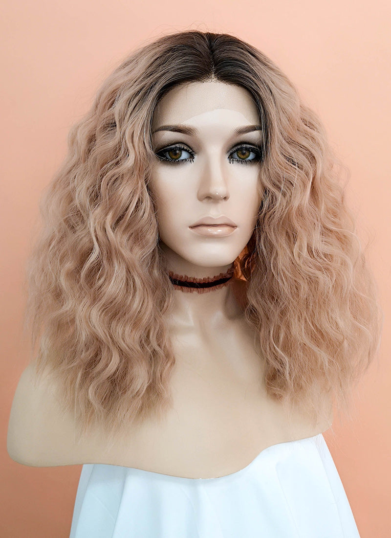 Peach Pink With Dark Roots Wavy Lace Front Synthetic Wig LF1583 - Wig Is Fashion Australia