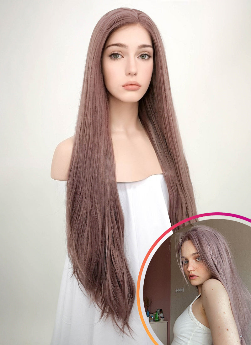 Straight Ash Purple Lace Front Synthetic Wig LF1587