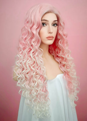 Spiral Curly Pink Blonde Ombre Lace Front Synthetic Wig LF165 - Wig Is Fashion Australia