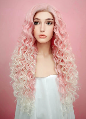 Pastel Pink Blonde Ombre Spiral Curly Lace Front Synthetic Wig LF165 - Wig Is Fashion Australia