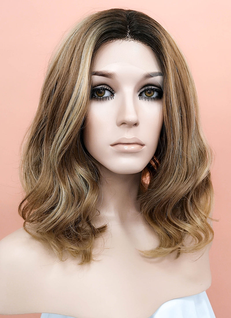 Mixed Brown With Dark Roots Wavy Bob Lace Front Synthetic Wig LF1666 - Wig Is Fashion Australia