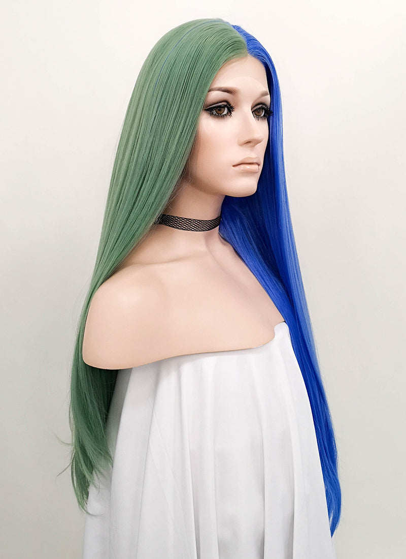 Blue Green Split Color Straight Lace Front Synthetic Wig LF1705 - Wig Is Fashion Australia