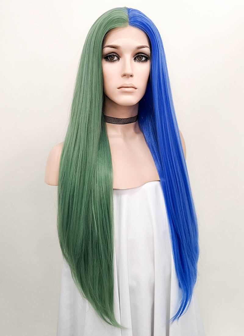 Blue Green Split Color Straight Lace Front Synthetic Wig LF1705