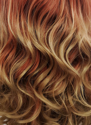 Auburn Blonde Ombre Wavy Lace Front Synthetic Wig LF1707 - Wig Is Fashion Australia