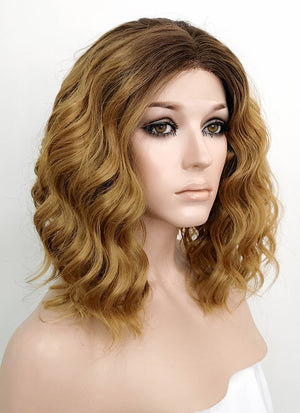 Blonde With Brown Roots Wavy Bob Lace Front Synthetic Wig LF1725 - Wig Is Fashion Australia