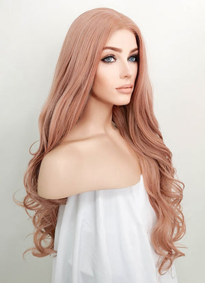 Pastel Peach Pink Wavy Lace Front Synthetic Wig LF1726
