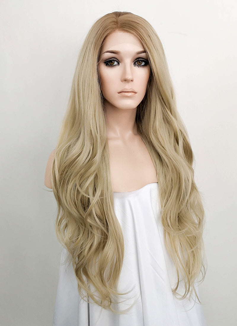 Ash Blonde With Brown Roots Wavy Lace Front Synthetic Wig LF1728 - Wig Is Fashion Australia