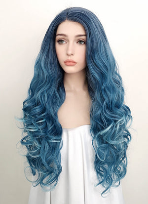 Mixed Blue Wavy Lace Front Synthetic Wig LF1731 - Wig Is Fashion Australia