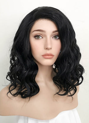 Black Wavy Bob Lace Front Synthetic Wig LF1734 - Wig Is Fashion Australia