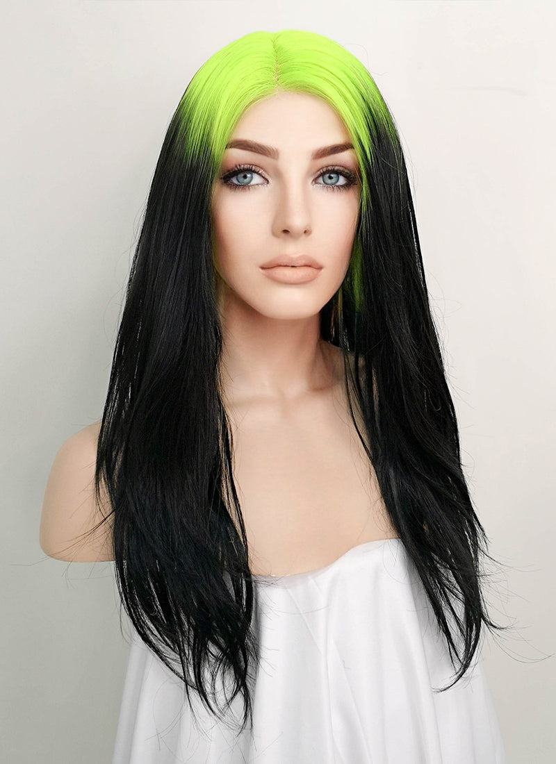 Billie Eilish Black With Neon Green Roots Wavy Lace Front Synthetic Wig LF1743 - Wig Is Fashion Australia