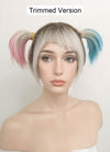 Birds of Prey Harley Quinn Blonde Pink Blue Ponytail With Brown Roots Wavy Lace Front Synthetic Wig LF1744 - Wig Is Fashion Australia