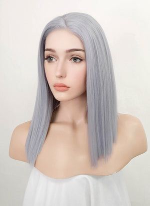 Silver Grey Straight Bob Lace Front Synthetic Wig LF1746